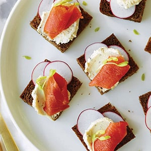 Smoked Salmon Canapés with Boursin Pepper Cheese