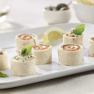 Smoked Salmon Rolls with Boursin Basil & Chive Cheese
